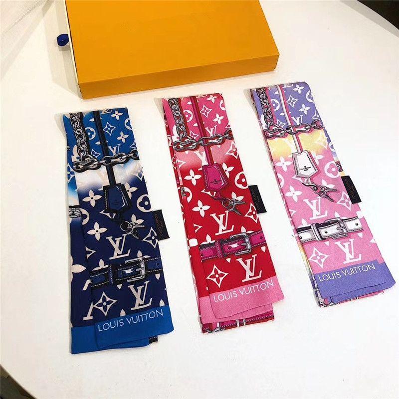 2020 Brand silk tie fashion classic women 100%silk head brand hair band scarf small ribbon printed silk scarf 120*8cm