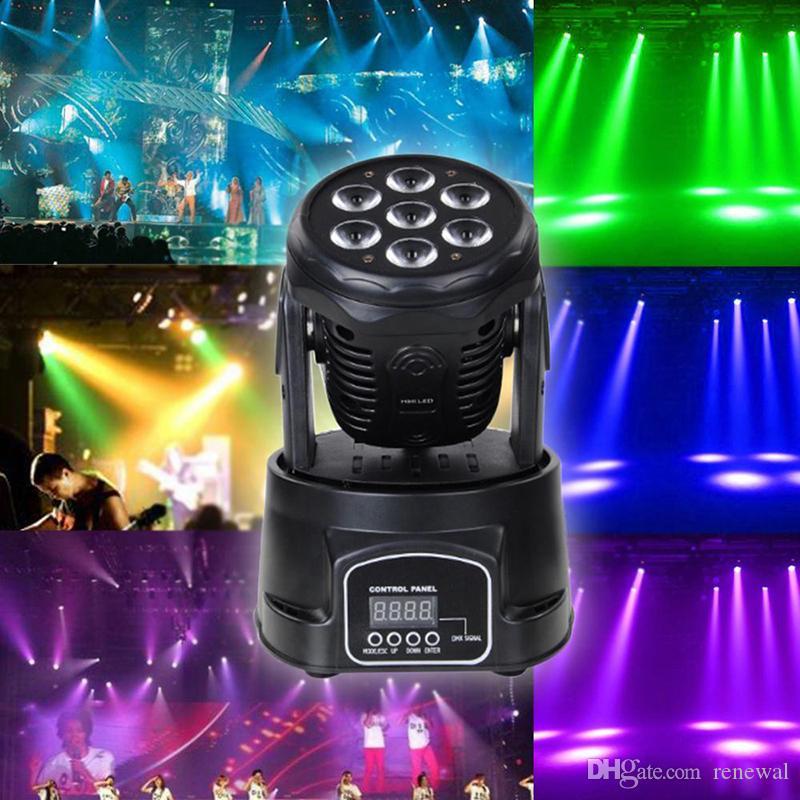 DHL profissional rgbw cor de mistura dmx-512 mini movimento de cabeça mover 7 led discoteca luz dj equipamento dmx led iluminação strobe stage luz