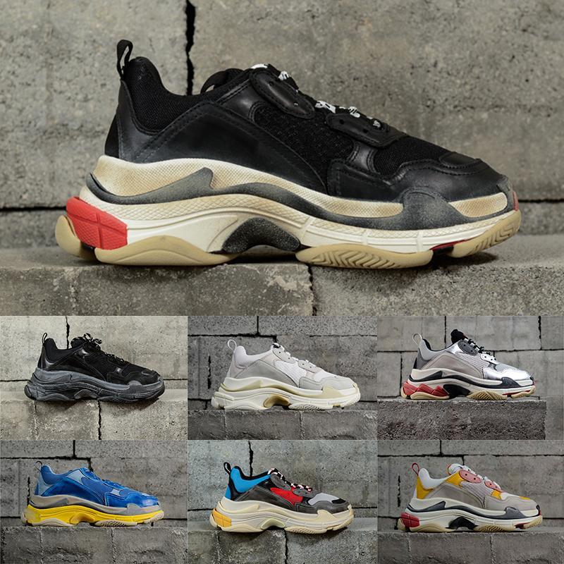Negro gris claro de la vendimia de lujo Triple S diseñador baja, hacen de zapatillas de deporte viejas Combinación soles Botas Hombres Mujeres Zapatos París Deportes de zapatos casual