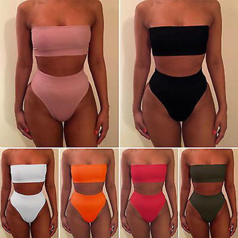 Hirigin mujeres traje de baño 2pcs de cintura alta del bikini Conjunto empuja el sujetador sólido del traje de baño del bañador del tamaño S-XL 6 colores