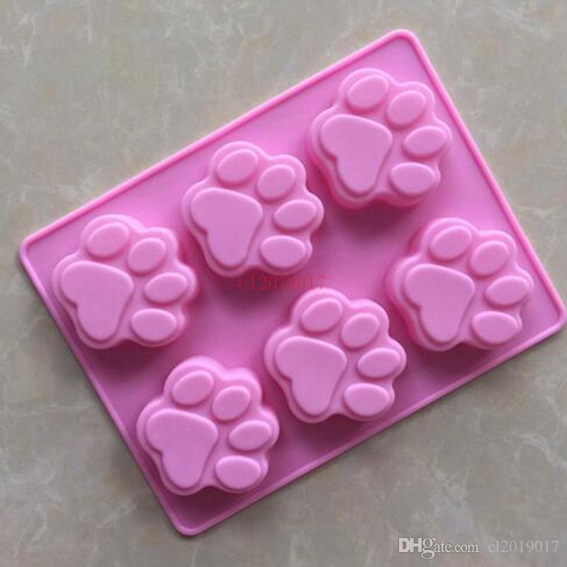 50 teile / los großhandel silikonform 6 gitter katzenartigen abdruck handgemachte seifenform silikon backformen
