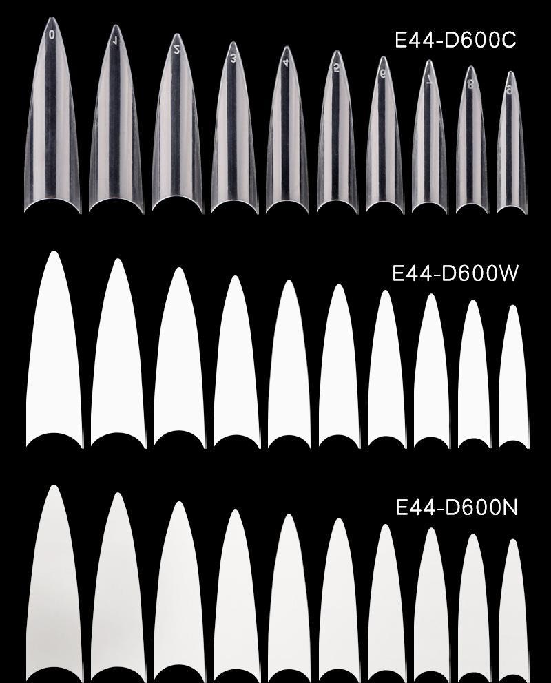 Women 600pcs French Nail Tips Transparent White False Nails ABS Artificial Fake UV Gel Nail Art Tips High Quality