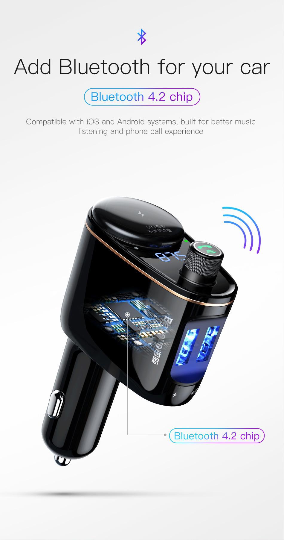 Car Baseus Bluetooth Chargeur Transmetteur FM MP3 Player voiture allume-cigare Splitter voiture chargeur de téléphone
