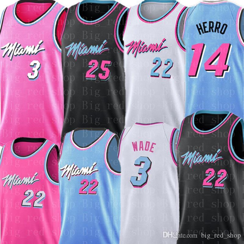 Dwyane Wade 3 Jimmy Butler 22 Jersey NCAA College Tyler 14 Herro Kendrick 25 Nunn pullover di pallacanestro Mens Bianco Nero Rosa Blu