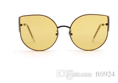 Европейские и американские новые модные индивидуальные ретро металлические кошачьи глаза женские солнцезащитные очки высокого разрешения женские взрывные очки