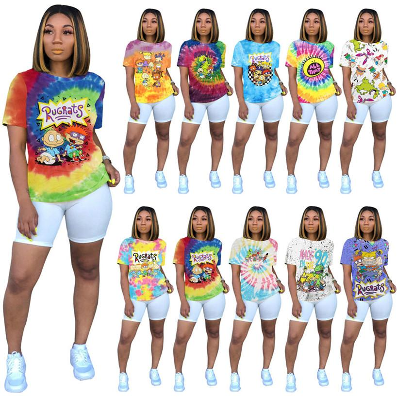 النساء السكريات القمصان زائد الحجم S-2XL الكرتون البلوز قصيرة الأكمام طاقم الرقبة بلايز مثير الصيف caual الملابس dhl مجانية 3031