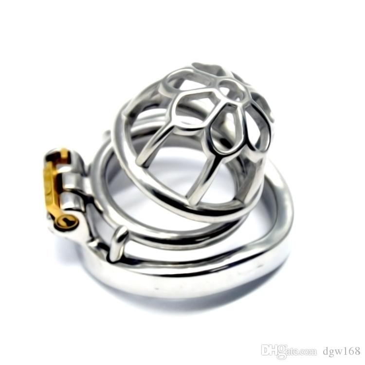 NEW Stainless Steel Male Chastity device Adult Cock Cage With Curve Cock Ring BDSM Sex Toys Bondage Chastity belt 002