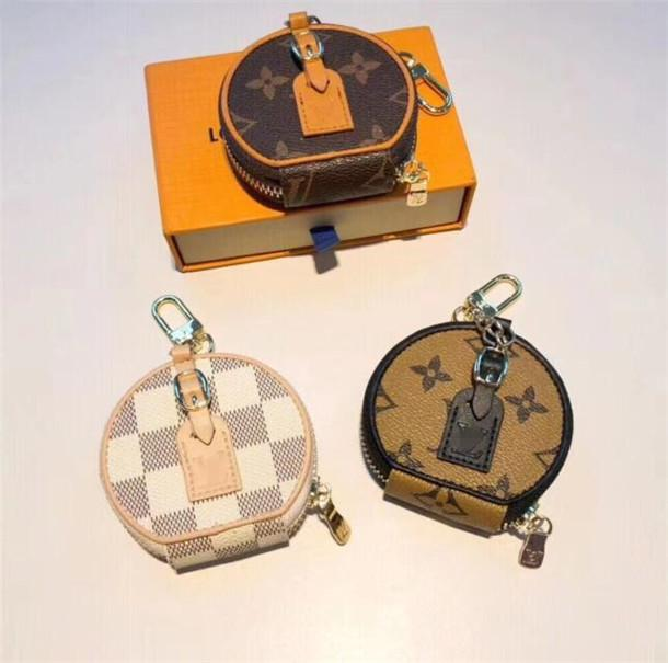 فاخر إمرأة Louis Vuitton جلد محافظ مفتاح سلسلة مصمم مفتاح حلقة مفتاح حامل بورت المفتاح الموسيقي هدية تذكارية المرأة السيارة قلادة حقيبة عملة محفظة