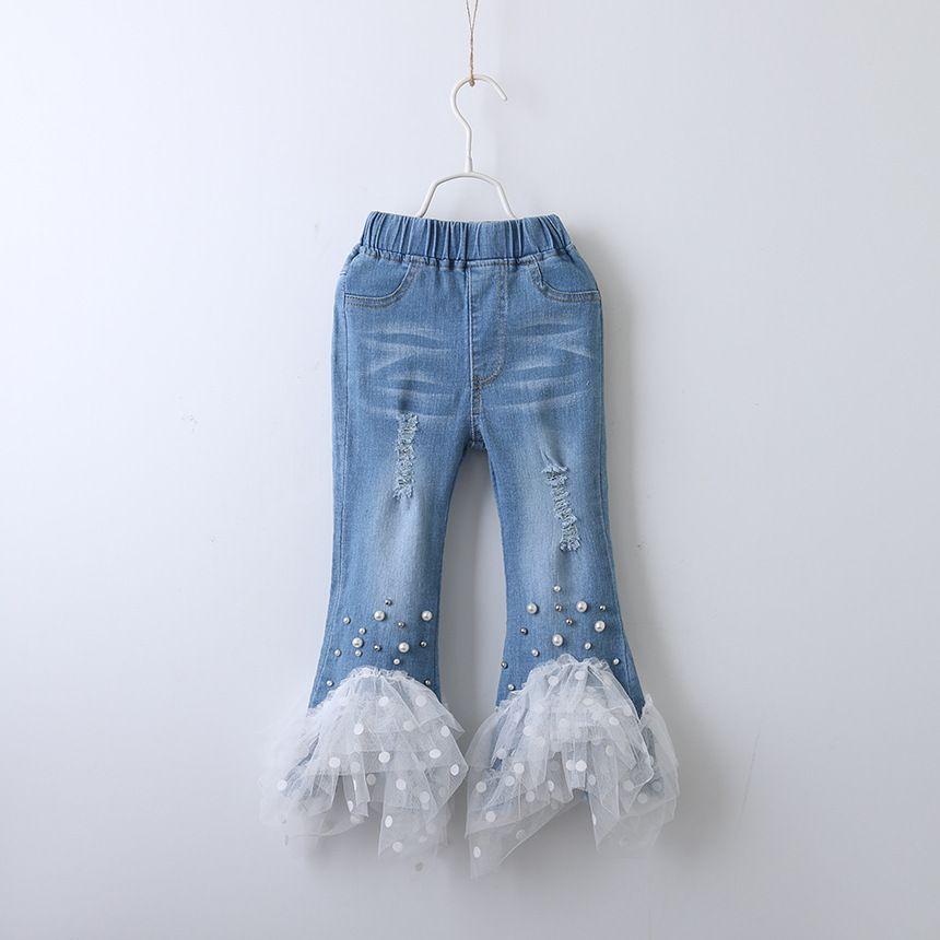 Children Denim pearl lace pants INS baby Girls Jeans Trousers 2019 Spring Autumn fashion Boutique kids designer clothes girls C6493