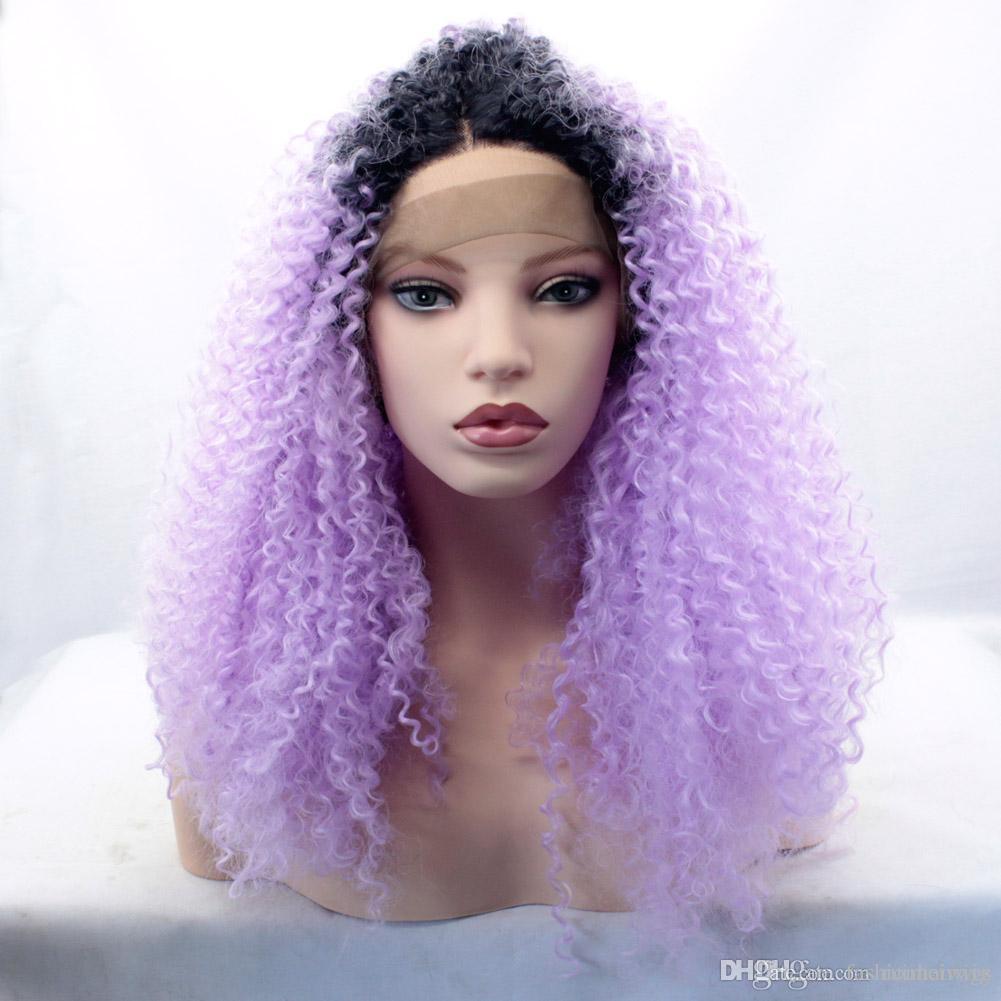 Uzun Ombre Mor Siyah Kadınlar için Kinky Kıvırcık Peruk Cosplay Sentetik Dantel Ön Peruk Isıya Dayanıklı Peruk Siyah Işık Mor Ombre Saç