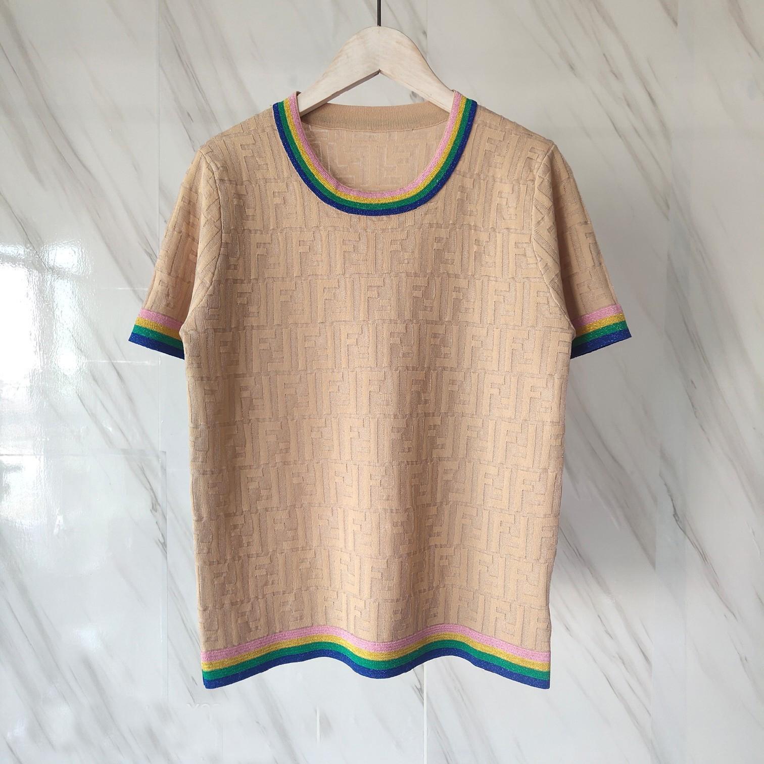 Hot Luxury Designer Shirts Femmes Mode Haut quility tricot pour femmes T-shirts Casual Top Marque T-shirts FF Lettre fille Chemise à manches courtes F 2052603H