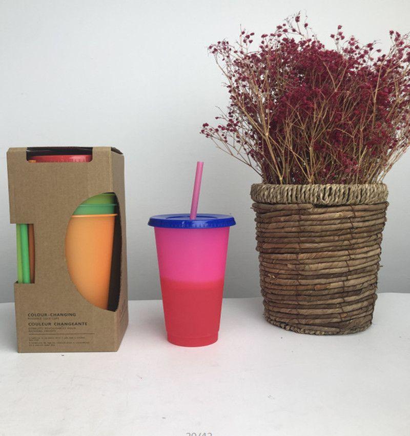 빨대 온도시피 머그컵 사탕 색 커피 차 물과 열 변색 컵 매직 플라스틱 음주 색상 변경 텀블러 24온스 5PCS / 세트