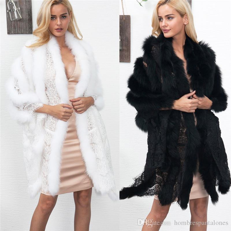Lace Panelled Womens Winter Coats Faux Fur Coats Dress Shawl Elegant Luxury Sexy Loose Long Sleeved Fashion Women Coats