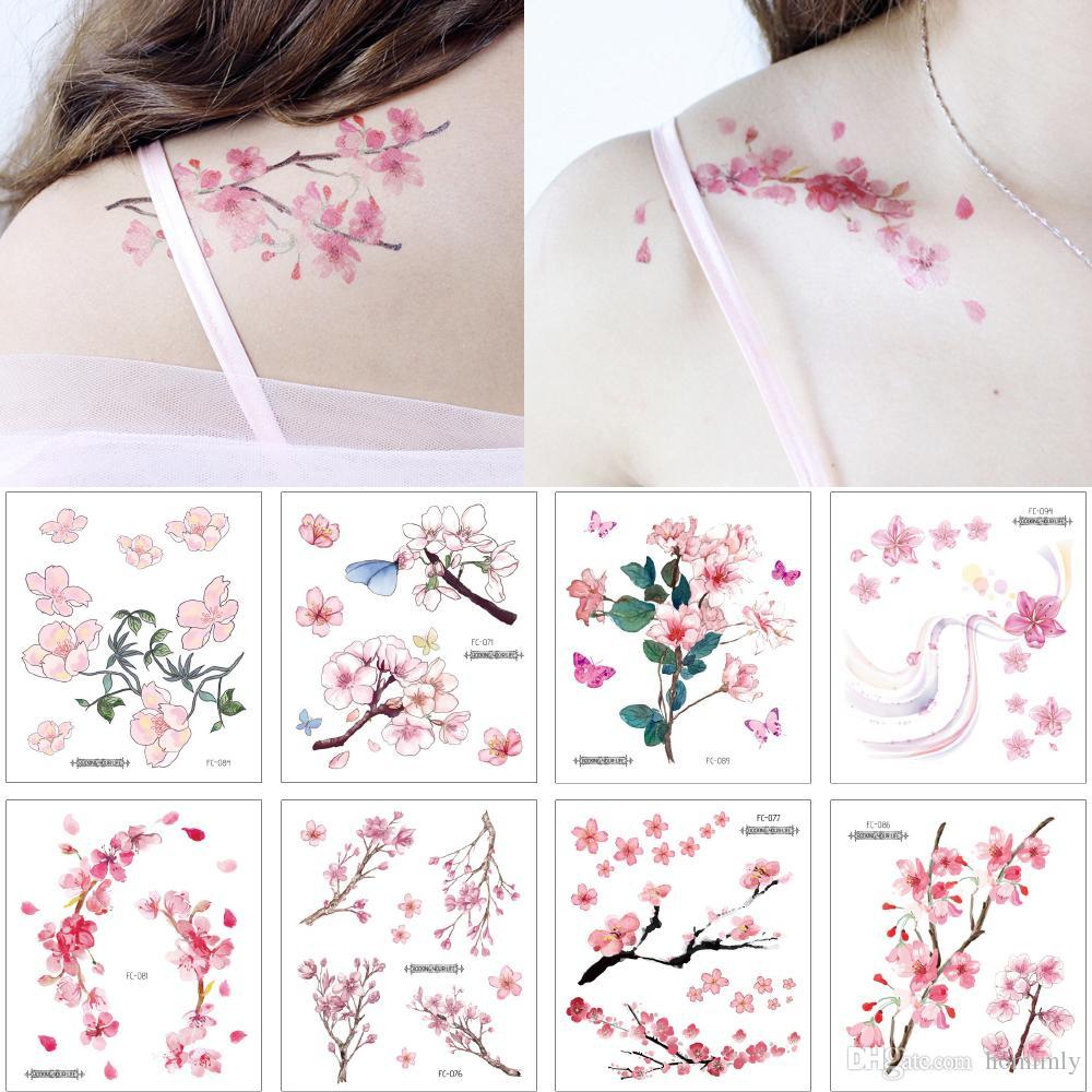 Acheter Petite Fleur Fleur De Cerisier Decal Tattoo Simple Couleur Dessin Body Art épaule Clavicule Bras Main Conception étanche Tatouage Temporaire