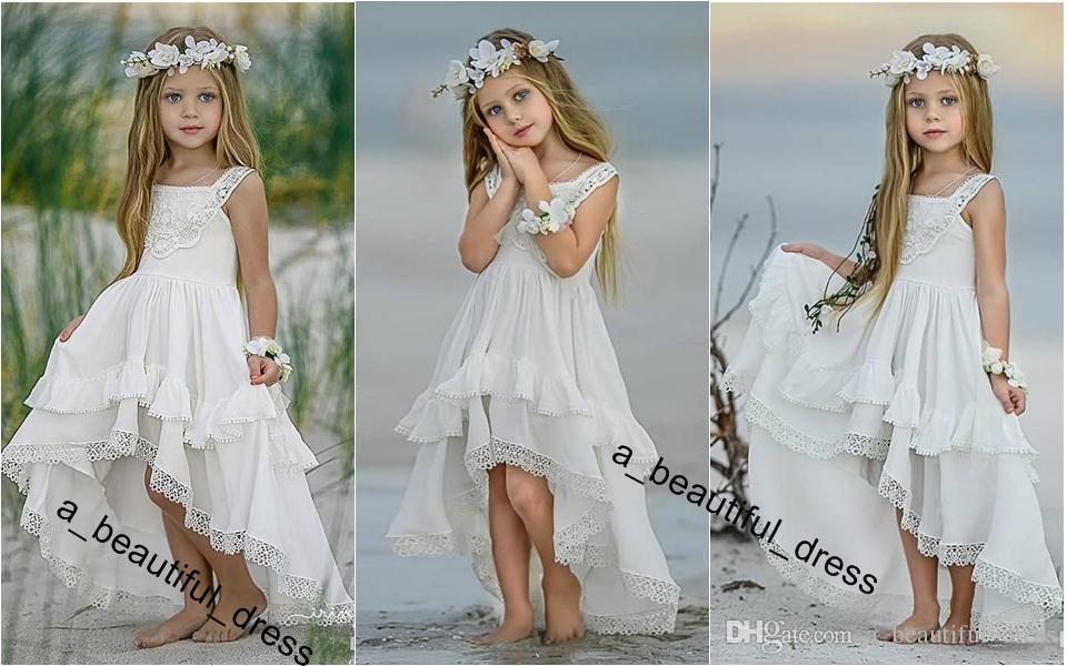 Bohemian High Low Flower Girl Dresses For Beach Wedding Pageant Gowns A Line Boho Lace Appliqued Kids First Holy Communion Dress FG1240