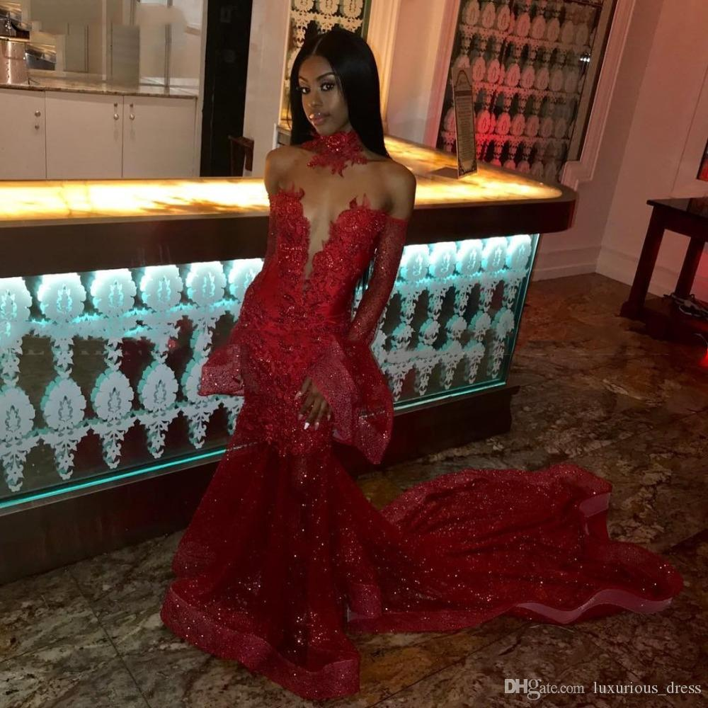 Sparkly Sequin Long Sleeves Mermaid Red African Prom Dress with Court Train Lace Appliques Black Girls Evening Dresses 2019 robe de soiree