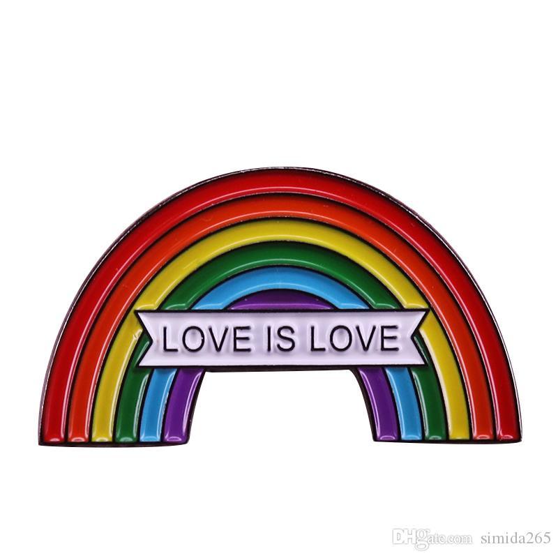 Rainbow igual amor broche insignia de orgullo gay matrimonio homosexual pin LGBT joyería regalo de San Valentín