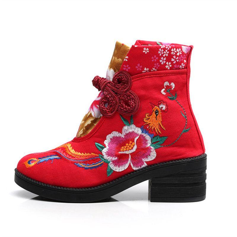neue bestickte stiefel mode einzel stiefel kurze stiefel dicker boden hang mit nationalem charme X49