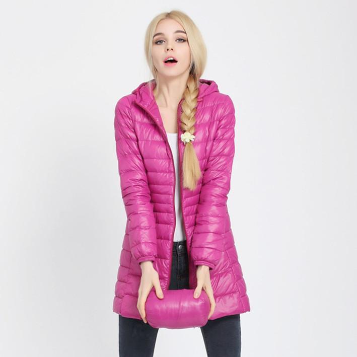Ukraine New Sale Zipper 90% 2019 Euro-stars Thin Style Winter Coat Women Slim Hooded Down Parka Long Jacket Outerwear Elegant