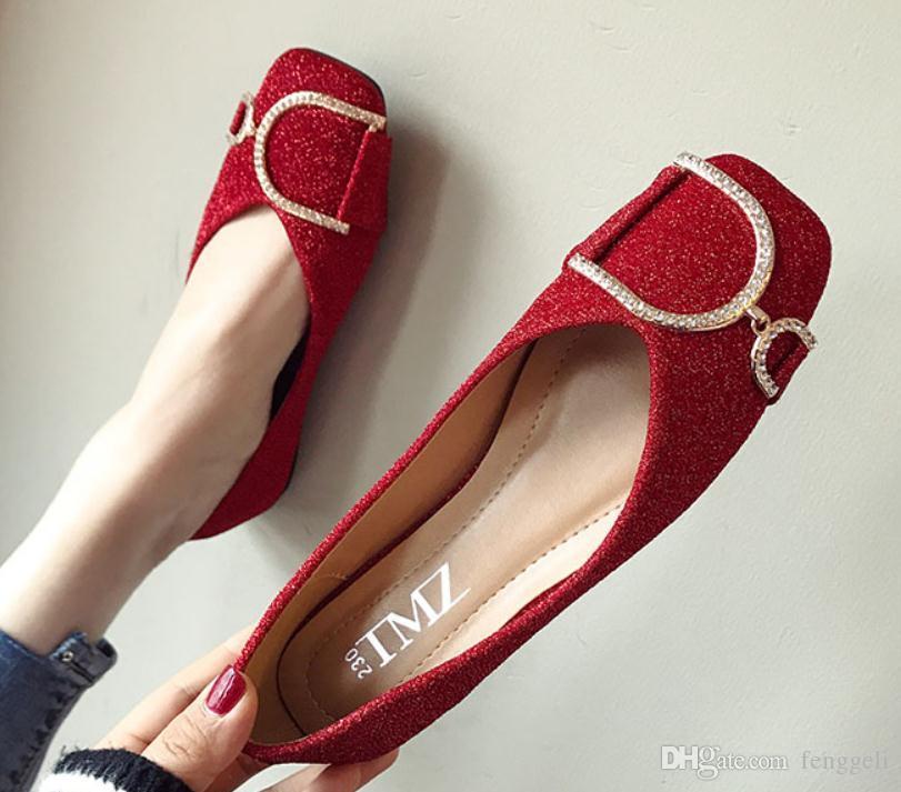 2019 kadın ayakkabı ile İlkbahar ve Sonbaharda Yeni stil düz dipli Kare kafa payetli kumaş # 142