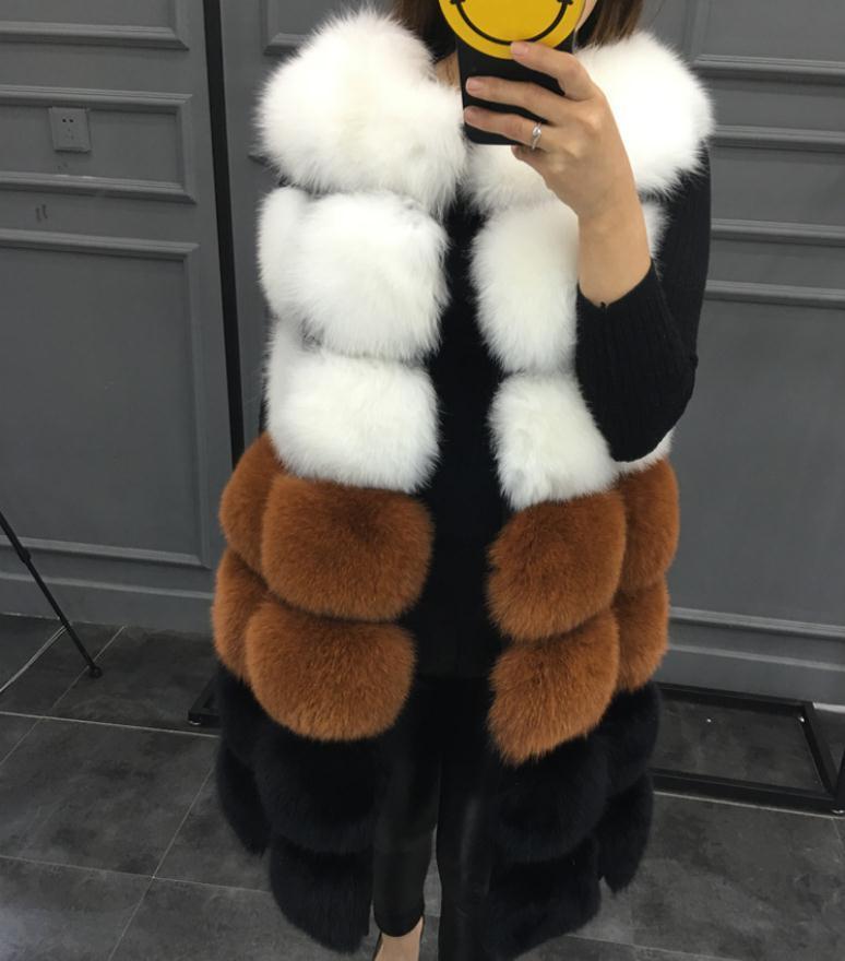 Женские пальто из искусственного меха для женщин с длинным разрезом контрастные женские имитации меховые жилеты Veste повседневная куртка