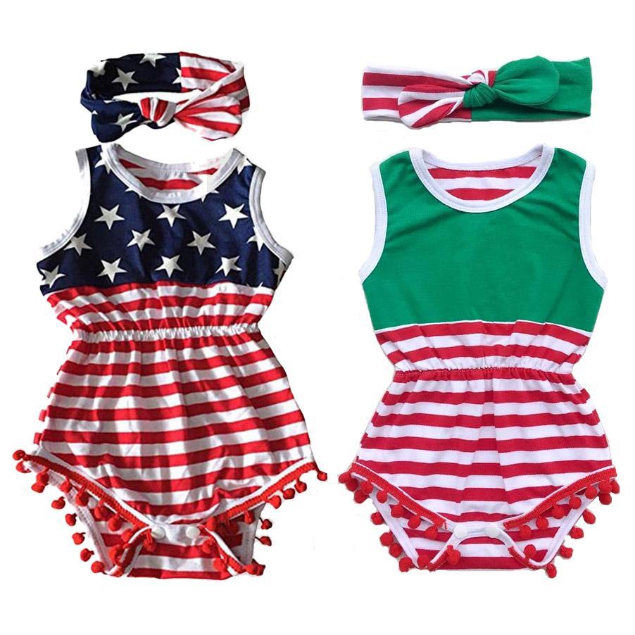Bebé de dos piezas Trajes Imprimir impresión nacional de la bandera de la materia textil de una sola pieza traje + Sui de Hairband del Bowknot bola Top 0-3T niños