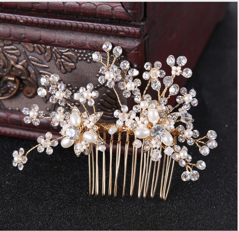 Bridal hand-made rhinestone comb Comb gold wedding dress accessories tiara hair accessories Bridal jewelry