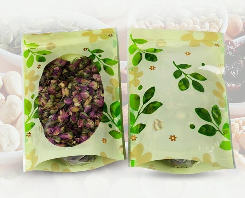 impresión de color verde preciosa bolsa de almacenamiento de alimentos bolsa de plástico bolsa de envases de plástico con cremallera Snacks bolsas al por mayor