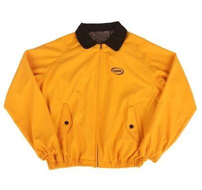 Herren Jacke Frühling Herbst Straßen-Art-Gelb Outfits Mode Down-Neck Jacket Street drehen