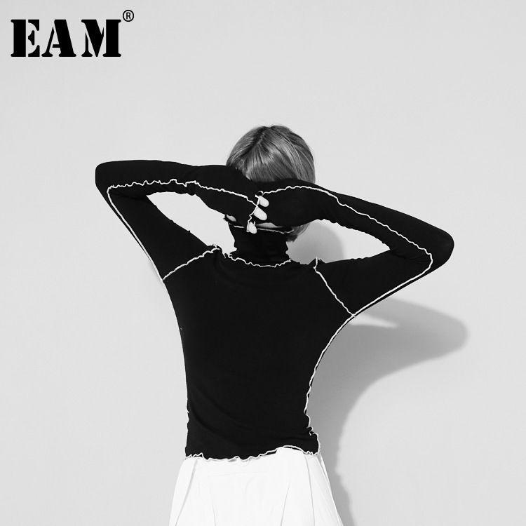 [EAM] 2020New Herbst-Winter-die hohe Kragen Langarm-Fest Farbe Schwarz Reffles Split Joint-lose T-Shirt Frauen-Mode Tide JE155 Y200109