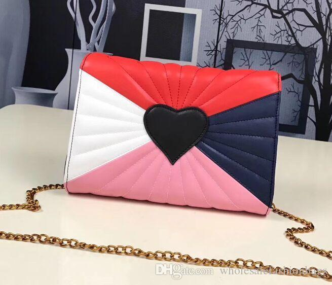 2018 brand new top quality women heart love chain real Leather handbag Shoulder Bag tote purse 66g