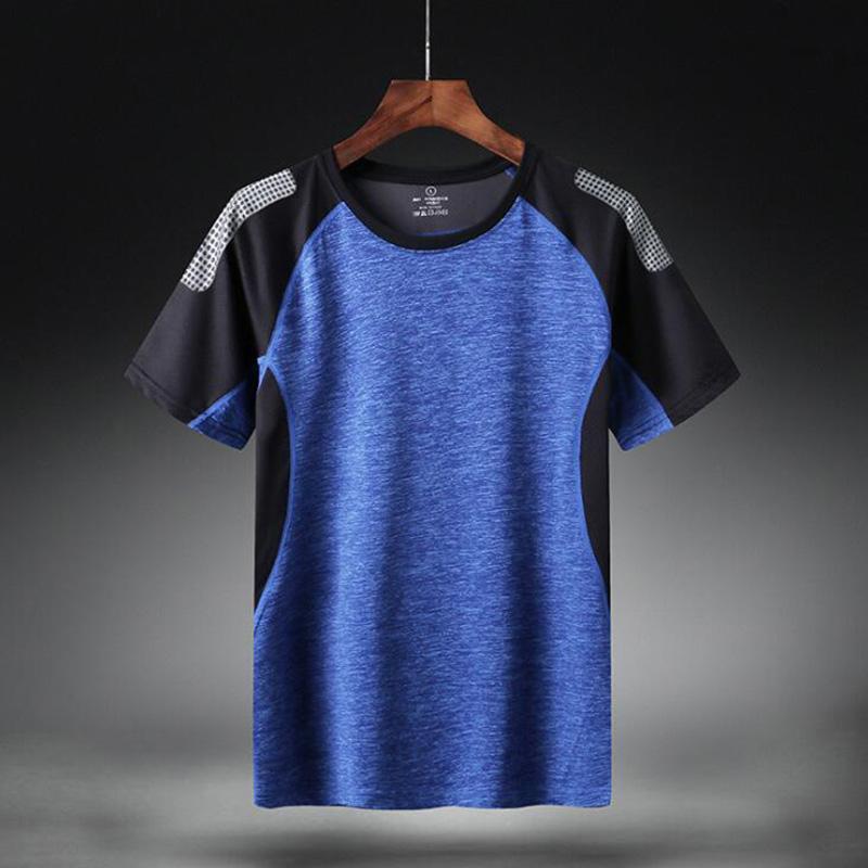 Deporte de secado rápido camiseta de los hombres de manga corta de algodón del verano ocasional más tamaño asiático M-5XL 6XL Top Tees GYM shirt Ropa