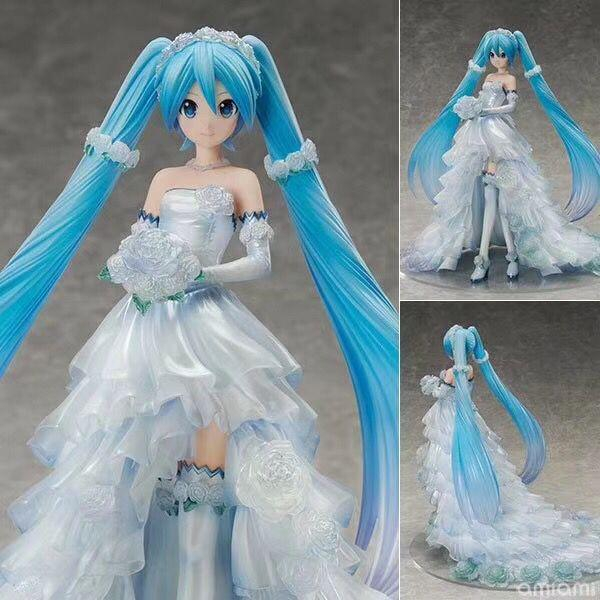 New hot sale wedding miku Hatsune Miku wedding dress miku ver. 25CM 1/7 scale painted figure PVC gift for children free shipping
