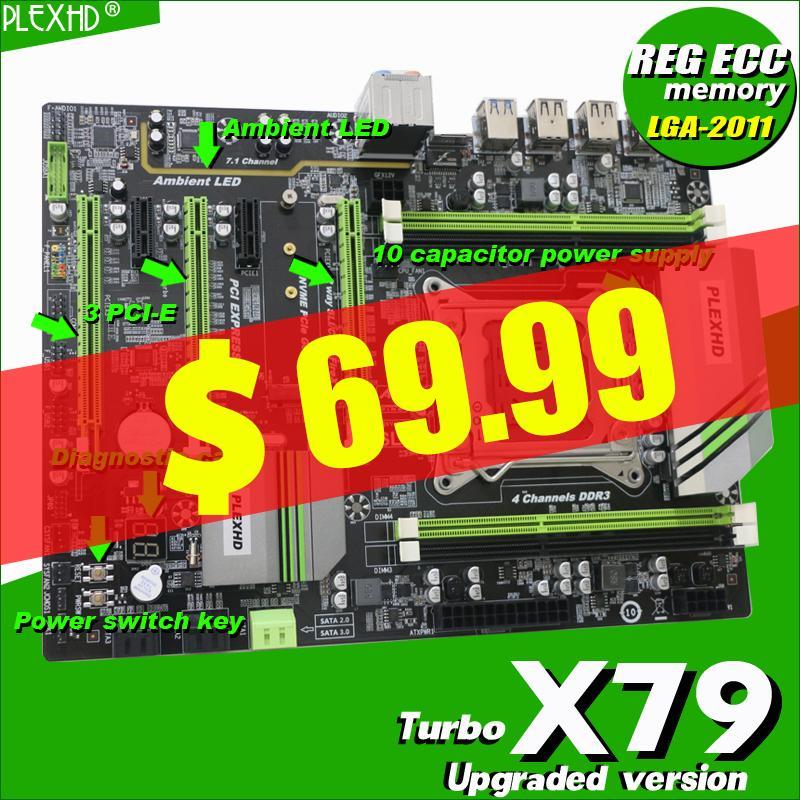 X79 Turbo motherboard LGA2011 ATX USB3.0 SATA3 PCI-E NVME M.2 SSD support REG ECC memory and Xeon E5 processor