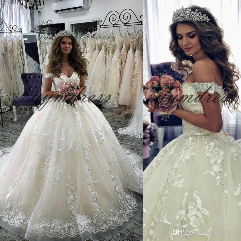 Elegant Wedding Dresses 2019 Capped Sleeves Lace Appliques Back Lace Up Ball Gown Plus Size Custom Made Bridal Gowns