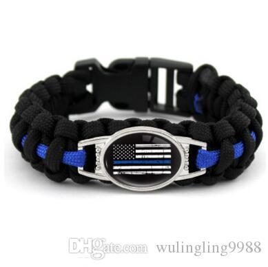 Schwarz Blau THIN BLUE LINE Amerikanische Flagge ZURÜCK DIE BLUE POLICE Paracord Survival Bracelets Outdoor Self Survival Camping Armband für Frauen