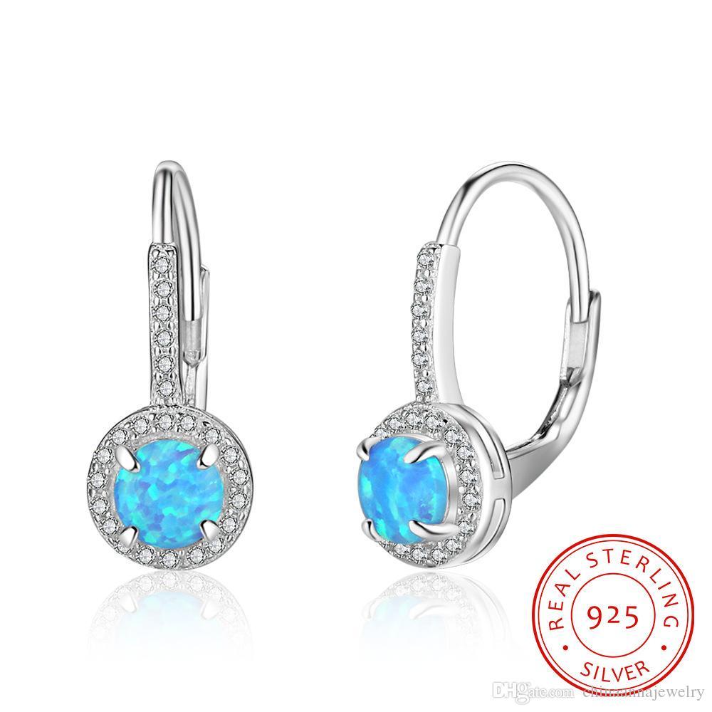 bonne qualité Sterling argent lustre boucles d'oreilles bijoux estampillé s925 fille forme ronde boucles d'oreilles avec bretelles d'opale au feu bleu