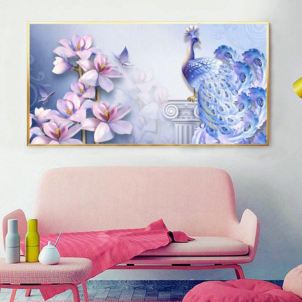 vendita all'ingrosso diamante ricamo pavone immagine di strass display completo pittura diamante animali kit punto croce decorazione della parete