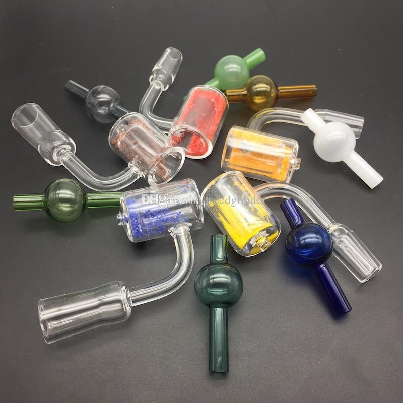 Renkli kumları ile Thermale Banger içinde 10mm 14mm 18mm Erkek Kadın Domeless çift kuvars Banger Tırnak ile cam carb kap