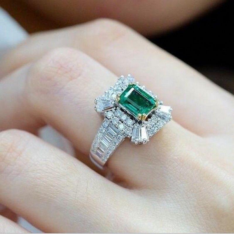 2019 새로운 도착 탑 판매 고급 보석 925 스털링 실버 공주 컷 에메랄드 보석 파티 여성 결혼식 신부 반지 연인을위한
