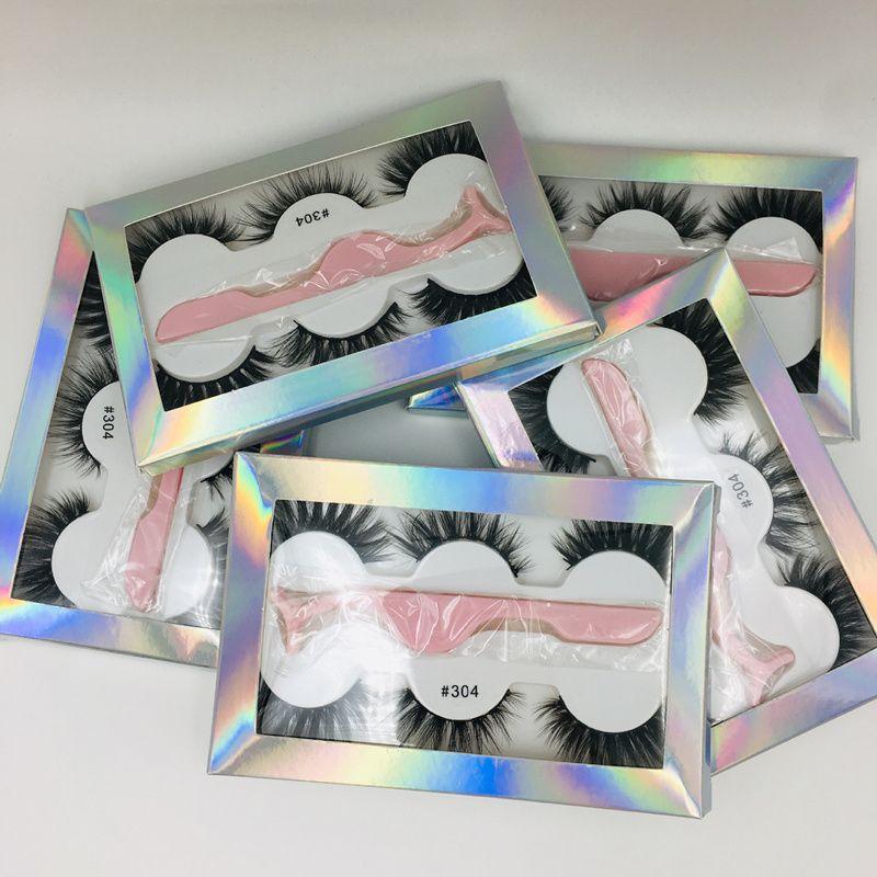 La nueva pestaña falsa 3D Mink azotes 3 pares pestañas gruesas Faux 3D Pestañas reales de visón real con pinzas en el recuadro 6 Estilos