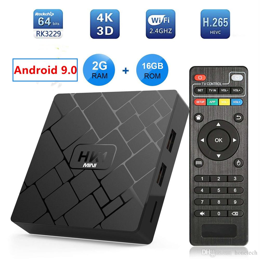 HK1 mini Android 9.0 TV BOX 2GB 16GB RK3229 Quad Core Set Top Box H.265 4K HD MI Media Player p mxq pro h96 tx3 x96 mini