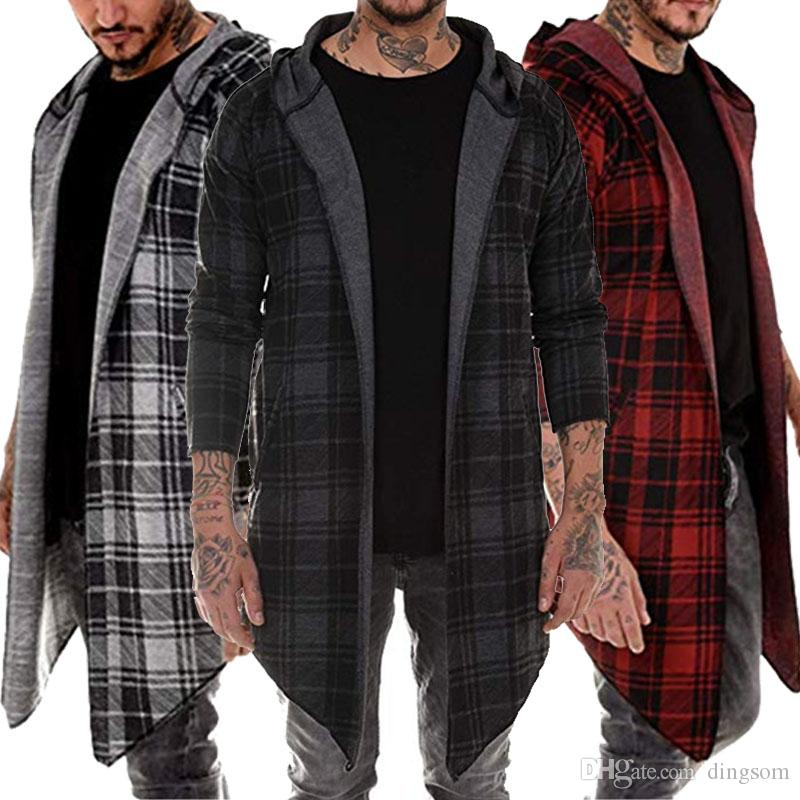 Stylish Men Hoodie Warm Hooded Tops Plaid Open Stitch Coat Jacket Casual Outwear Overcoat V-Neck Trench