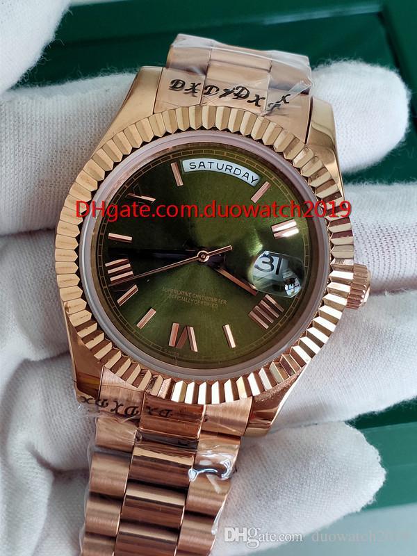 베스트셀러 비즈니스 시계 선물 럭셔리 날짜 손목 시계 망은 40mm 228,235 18K 로즈 골드 그린 로마 다이얼 시계 대통령 시계