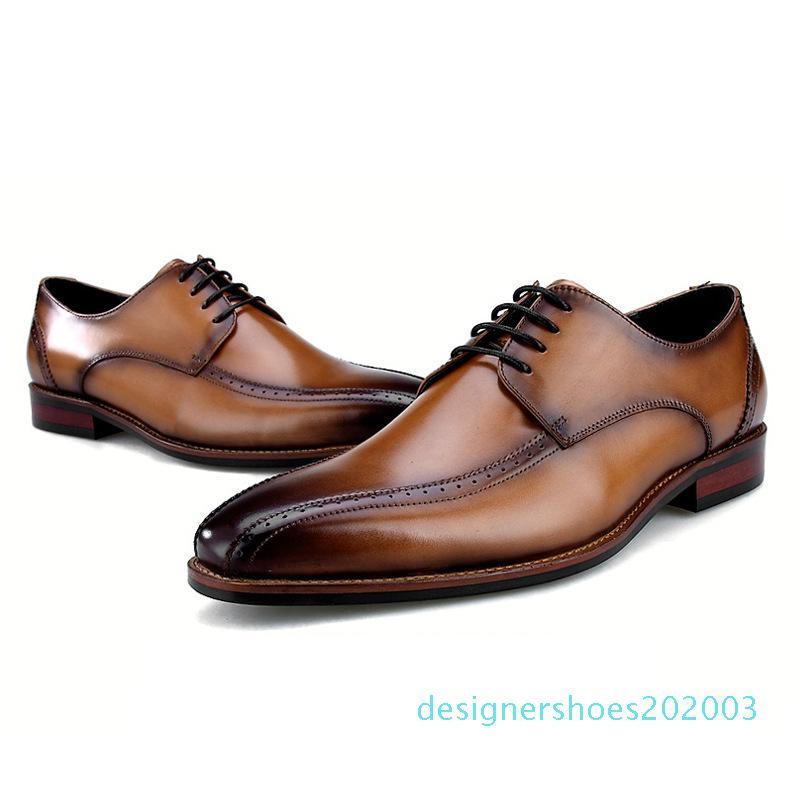 Hot Sale-respirável Preto / Brown Oxfords Sociais sapatos de negócios sapatos de couro genuíno Mens vestido de casamento Shoes d3