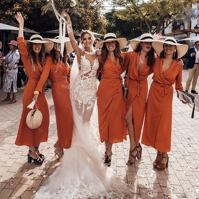 Şık Uzun Kollu Şifon Gelinlik Modelleri Turuncu V-Boyun Şifon Ayak bileği uzunluğu Antika soirée Gelin Parti Gowns Artı boyutu Hüsniye Moda