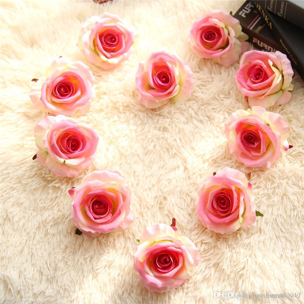 Rose Fai Da Te acquista fai da te fiore artificiale teste di rose flanella in legno fiore  decorativo rosa fai da te da sposa a casa festa decorazione floreale a 0,44