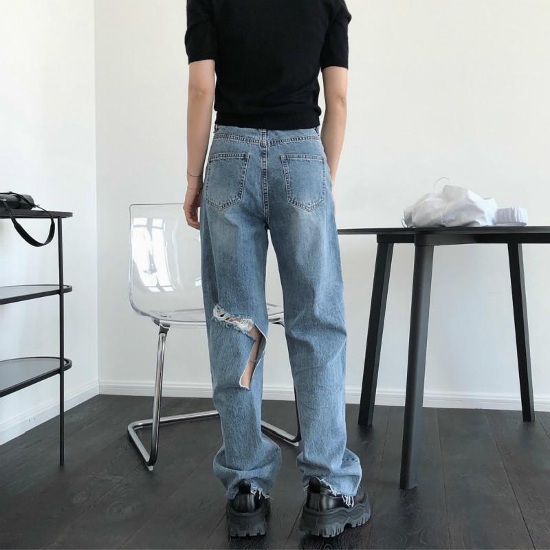 Jeans delle donne Fori vita alta sciolti direttamente moda street casual 2020 molla femminile Denim Pants