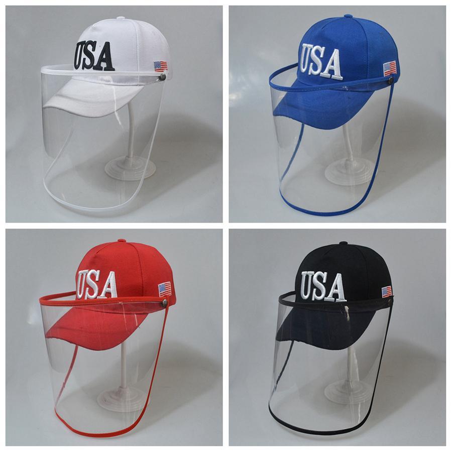 Trump Cap Mask USA Drapeau de broderie de baseball Chapeau 3D amovible extérieure Masques de protection transparent Chapeau bouclier visage LJJA4044-1