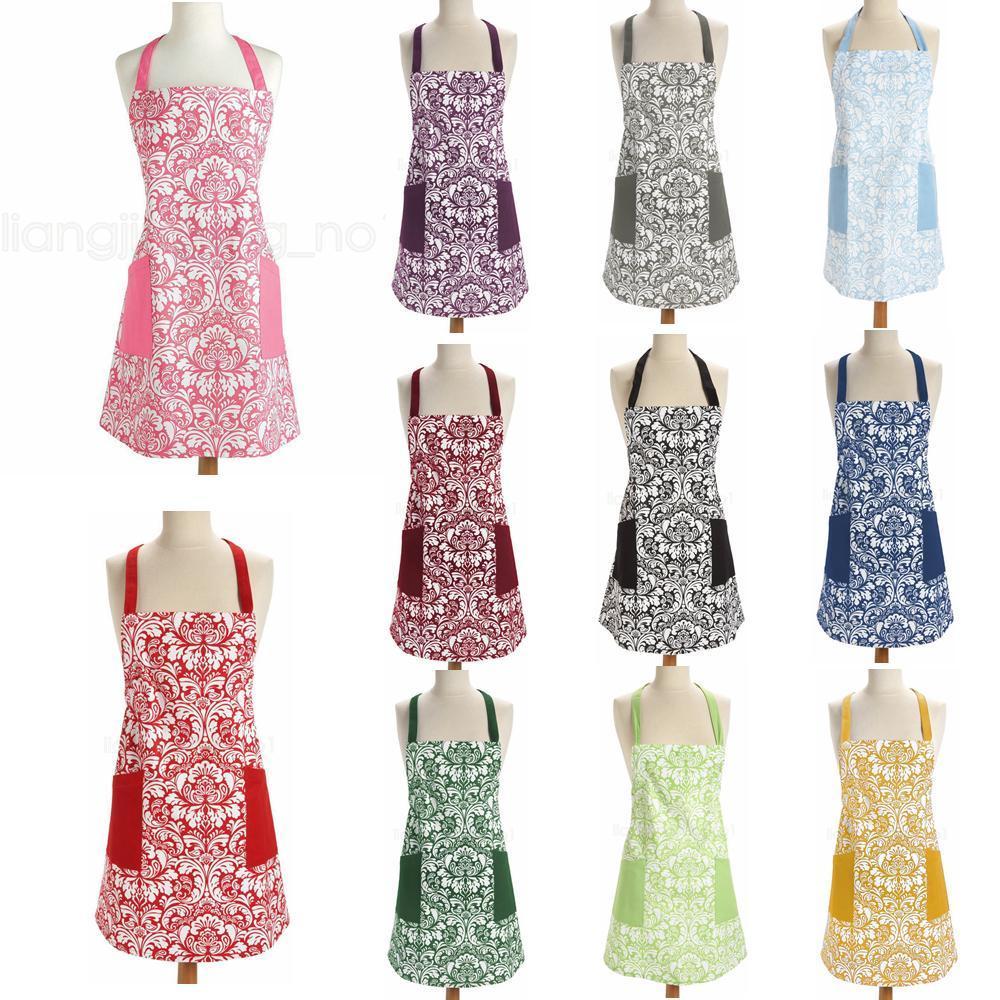 11styles retro delantales impreso floral Casa Cocina partido de cena de barbacoa horneado bolsillo delantero Adulto Mujeres delantales FFA2827 vestido